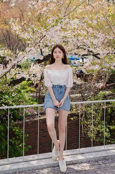 Korean Fashion : Basic Camisole And Sheer Ruffle Trim Blouse Set Korean Girl Fashion, Korean Fashion Trends, Korean Street Fashion, Korea Fashion, Cute Fashion, Asian Fashion, Daily Fashion, Fashion Outfits, Ulzzang Fashion Summer