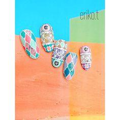 . Morocco . . 石、タイル、アイアン...✨ . . #nail#nails#nailart#nailstagram#gel#gelnails#gelart#art#acegel#ethnicnails#morocco#moroccannails#tilenail#summernails#erikotakei#武井絵梨子#japanesenailart#美甲#ネイル#ネイルアート#エースジェル#ジェルネイル#個性派ネイル#モロッコネイル#エスニックネイル#タイルネイル#群馬ネイル