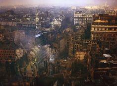 London in ruins in 1940 following raids by the German Luftwaffe