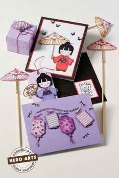 Good Fortune by Hero Arts. Love the lantern card Paper Cards, Diy Cards, Chinese Celebrations, Japanese Birthday, Origami, Asian Crafts, Chinese New Year Card, Hero Arts Cards, Chinese Festival
