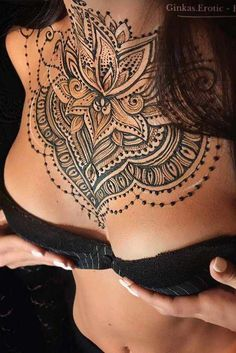 Chest Mehndi On Private Parts