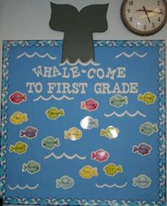 Mrs. Wright's Photo Album - Back to school bulletin board (whale-come)! Perfect for my under the sea classroom! by lee