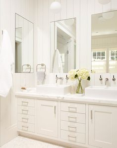 Mill Valley Master bathroom, white vanity with two sinks and large mirrors - traditional - Bathroom - San Francisco - Rasmussen Construction