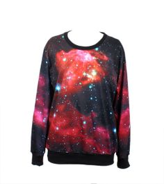Red Starry Night Print Sweatshirt Read More -    http://www.dailyfashionlog.com/red-starry-night-print-sweatshirt.html