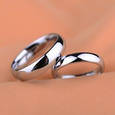 Men Women Silver Stainless Steel Classic Traditional Wedding Band Ring 3,6mm Hot