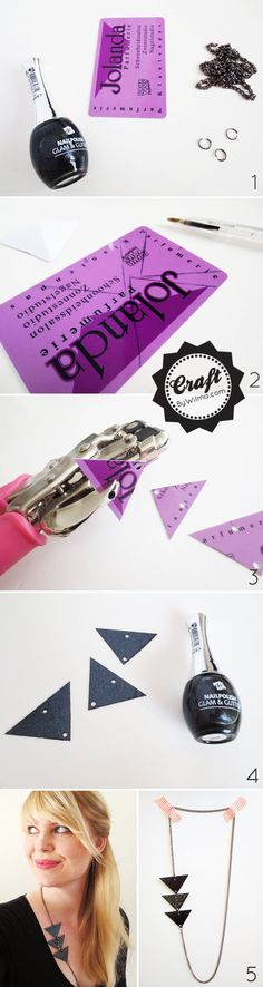 How to create a triangle necklace from a gift card and some nail polish!
