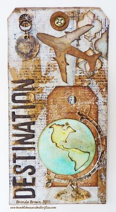 Bumblebees and Butterflies: Destination the world for A Vintage Journey using Tim Holtz, Ranger, Idea-ology, Sizzix and Stamper's Anonymous products; July 2015