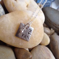 "Square ""faith"" antique silver plated pewter hand-stamped pendant with drop bead of  choice. $25"