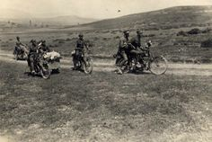 ASIA MINOR CAMPAIGN, 1920 Greek army motorcyclists on BSA Model K three-speed belt-drive motorcycles with vertical single-cylinder side-valve engines, manufactured in 1916. The Model K was one of BSA's main pre WW I model, popular with both solo and sidecar riders throughout Britain and British colonial markets. .