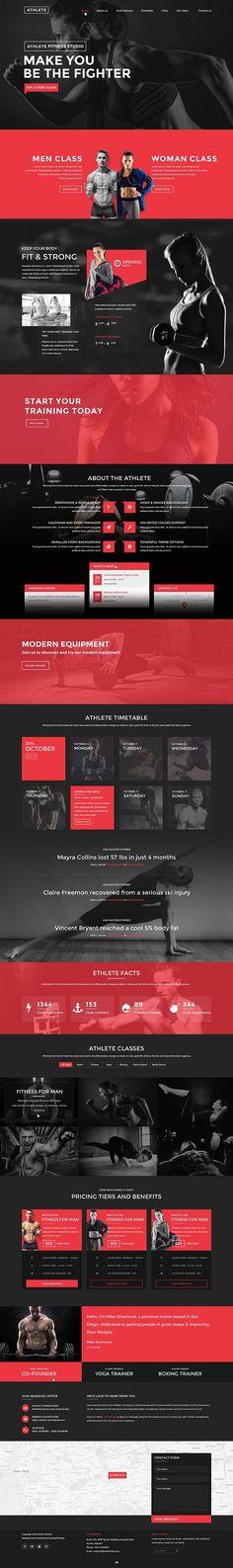 Athlete - Fitness, Gym and Sport Wordpress theme on Behance