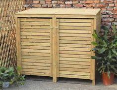 Wooden Outdoor Double Wheelie Bin Cover Storage Cupboard