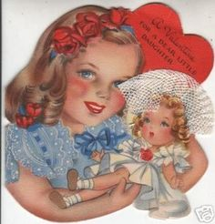 Girl with Her Dolly Valentine Card. Old Greeting Cards, Valentine Greeting Cards, Old Cards, My Funny Valentine, Vintage Valentine Cards, Valentines For Kids, Happy Valentines Day, Vintage Ephemera, Vintage Cards