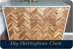 A step by step Diy tutorial on building a herringbone chest using Ikea decking tiles to create a herringbone pattern.