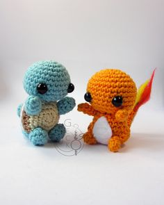 Chibi Squirtle and Chamander Amigurumi by LeFay00.deviantart.com on @deviantART