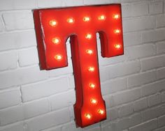 RUSTALGIC is proud to be WORLDWIDE!  SIZE: 21 tall x 3 deep THE DETAILS! * 2 day production time! * Good for both INDOOR and OUTDOOR use! * Made from sturdy welded sheet metal! * We DO NOT use pre-made string lights, like other do! * All bulbs shown plus 4 spare bulbs included per sign! * UL Approved (sockets, wiring & fused 2 prong plug). * Inset welded hooks on the back for easy hanging! * A generous 8 foot long white cord. * We carry additional spare bulbs, if needed in the future!  CR...