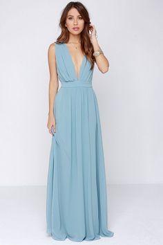 Deep V-neck chiffon one-piece sleeveless high waist full dress. Blue  Chiffon DressesBackless ... db54ea626d07
