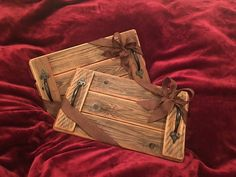 Handcrafted Hand Polished 3 Panel Wood Serving Tray with Rustic Iron Hnadles