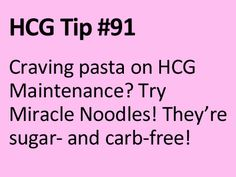 Miracle Noodles are fat-free, sugar-free, calorie-free, wheat- and gluten-free, and nearly carbohydrate-free. They are made from fiber and absorb the flavors of whatever sauce or broth they are cooked with. Hcg Results, Hcg Diet Rules, Hcg Tips, Hcg Diet Recipes, Hcg Meals, Healthy Recipes, Miracle Noodles, Flexible Dieting, Weight Loss Diet Plan