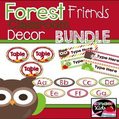 Create a woodland themed classroom with lots of cute forest friends!  1/2 price 1st 2 days!