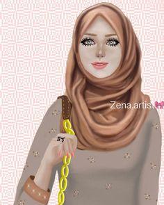 Pin by maheen meher🎓 on hijab ☆art☆ Hijab Dp, Girl Hijab, Girly M, Girly Girl, Sarra Art, Hijab Drawing, Islamic Girl, Beautiful Muslim Women, Girly Drawings