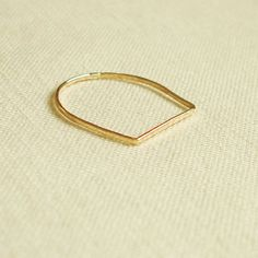 BACKORDERED  One Golden Square Top Thread of Gold Ring by MARYJOHN, $9.75
