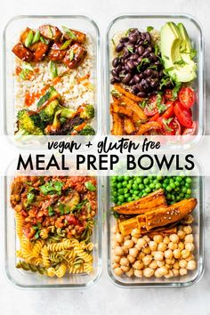 Easy Vegan Meal Prep Bowls made FOUR different ways! Have your meals ready for the week, stay on track with clean eating and incorporate one meatless meal into your day! Veggie Meal Prep, Easy Healthy Meal Prep, Vegetarian Meal Prep, Vegan Meal Plans, Lunch Meal Prep, Meal Prep Bowls, Vegetarian Recipes, Meal Prep For Vegetarians, Vegan Weekly Meal Plan