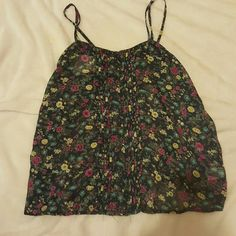 Navy Blue Floral Tank Top Perfect condition. Buttons on the front with adjustable straps Mossimo Supply Co Tops Tank Tops