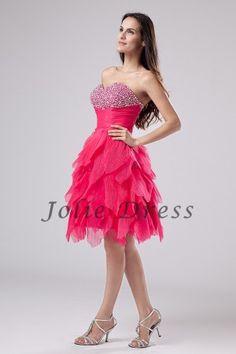A-Line Knee-Length Sweetheart Beaded Organza Prom Dresses