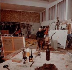 Joan Miro, 1938, in his studio  (1893-1983). Miro studio was founded in Mallorca in 1956, Barcelona Spain