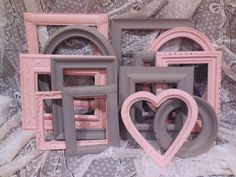 Picture Frame Set, Pink and Gray, FREE SHIPPING, Grey, Gallery Wall, Home Decor, Collage, Girl, Nursery, Wedding by GiftsByIrisWithLove on Etsy https://www.etsy.com/listing/192505589/picture-frame-set-pink-and-gray-free