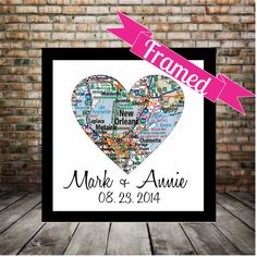 New Orleans Map Heart Poster FRAMED Print Any Location Available Wedding Sign Gift for Couple Personalized Valentines Day Gift on Etsy, $49.00