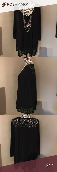 American Rag Black Tunic w/Lace Flirty black tunic with lace trim. Can be dressed up or down. Gently worn. (Necklace not included) American Rag Tops Tunics