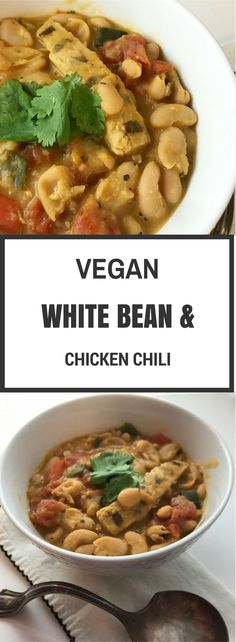 This White Bean and Chicken Vegan Chili Recipe is SO easy. Throw it together, come back in a few hours & enjoy a delicious, spicy bowl of comforting chili.
