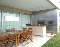 Galería #exterior con Cerramiento #Parrillero América Inca en #acero inoxidable, horno, carlitera, mueble bajo loza. . . . #arquitectura #art #arq #green #finde #galerias #parrillas #casas #modernas #quinchos #findesemana #asadores #modernos #asado #amigos #diseño #exclusivo #lujo #fachadas #contrafachadas Ideas Para, House, Inca, Table, Furniture, Color, Home Decor, Gardens, Two Story Houses