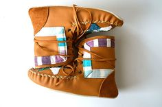 Childrens handmade leather beaded woollined by needleheadcrafts, $160.00