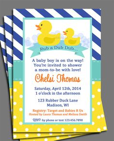 Rubber Duck Baby Shower Gender Reveal Or By ThatPartyChick On Etsy, $15.00