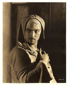 "Portrait of Rudolph Valentino, 1924, age 29, from the ""Hooded Falcon."""