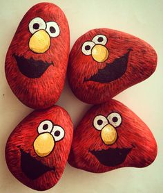 Elmo rocks! Elmo stone painting