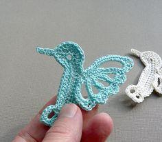 2 Crochet Hummingbirds -- Aqua Crochet Appliques