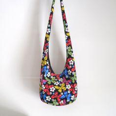Corduroy Butterflies and Flowers Hobo Bag Sling Bag by 2LeftHandz, $25.00