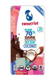 LEAP friendly chocolate bar- riotBar 70% Kickin' Coconut (12 pack) - sweetriot