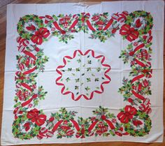 Vintage Christmas Tablecloth Holly Bells Wreath Ornaments Card Table Size 45x50