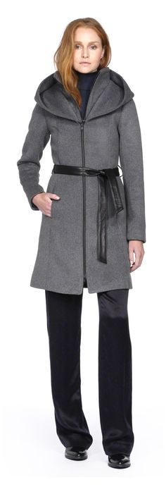 SOIA & KYO - ASIA-F4 GREY WOOL COAT FOR WOMEN WITH HOOD