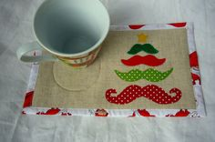 Moustache Christmas Tree mug rug pattern applique by RightPatterns, $1.99