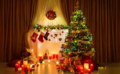 Download wallpapers Christmas, stones, evening, New Year, Christmas tree, candles, gifts