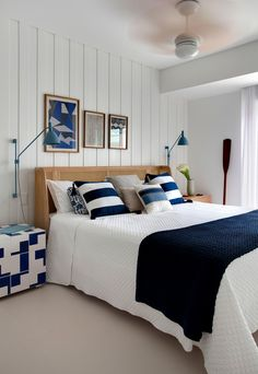 Nautical home decor. Sailor stripes, rope accents, and aquatic hues rule in these modern takes on nautical decor. Beach House Bedroom, Blue Bedroom, Beach House Decor, Bedroom Decor, Home Decor, Unfinished Wood Furniture, Coastal Bedrooms, Home Interior, House Design