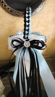 Small Wedding Flower Girl Basket Black Light Blue by SisiCreations, $45.00