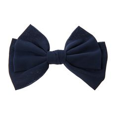 Navy Blue Chiffon Double Bow Hair Clip
