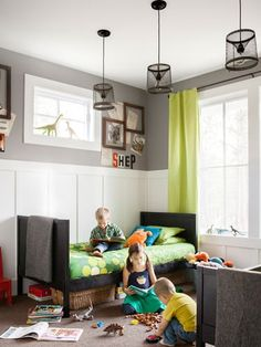 Boys Roomwalls painted in Summit Gray by Sherwin-Williams) amp up the energy in the boys' room. Lights, $45 each: A local shopkeeper created these pendant lights using vintage crawfish traps. Read more: Joanna Swanson Budget Home - Creative Budget Decorating Ideas - Country Living Follow us: on Twitter | CountryLiving on Facebook Visit us at