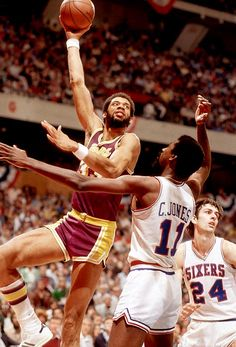 Kareem during the 1980 NBA Finals.  Check out more NBA Action at:  http://hoopsternation.com